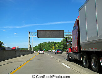 semi truck - big semi trailer truck driving on highway