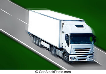 Semi Truck - Big White Truck Moving on the Highway