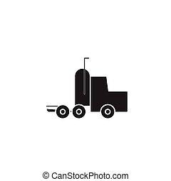 Semi truck black vector concept icon. Semi truck flat illustration, sign