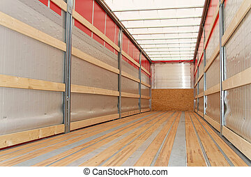 Semi truck horizontal - Interior view of empty semi truck...