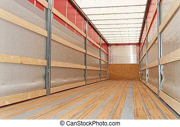 Semi truck horizontal - Interior view of empty semi truck...