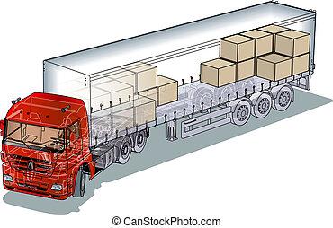 semi-truck infographics cutaway - cargo semi-truck...