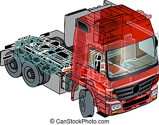 semi-truck infographics cutaway Available EPS-10 separated...