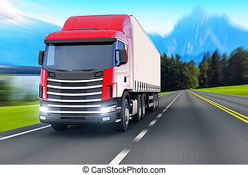 Semi-truck on a highway or autobahn - Creative abstract...