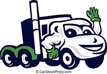 Semi Truck Rig Waving Cartoon