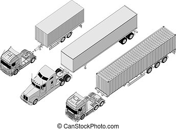 semi-truck set - Available EPS-8 vector format separated by...