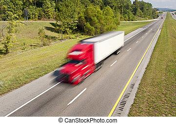 Semi Truck Speeding Down the Highway