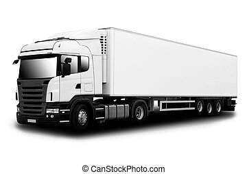Semi Truck - Big Semi Truck Isolated on White