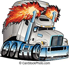 Awesome big rig diesel tractor trailer cartoon illustration, semi-truck with flames shooting from huge smoke stacks, big tires and rims, lots of chrome, sharp, highly detailed, isolated vector graphic for easy editing.