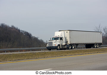 Semi Truck - Tractor Trailer Truck on Open Highway