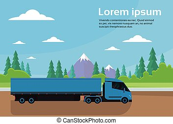 Semi Truck Trailer Driving Road In Countryside Over Mountains Landscape Banner With Copy Space