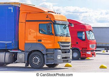 Semi truck trailer on parking, road freight cargo truck transportation.