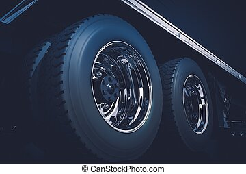 Semi Truck Wheels - Semi Truck Tractor Wheels Closeup 3D...