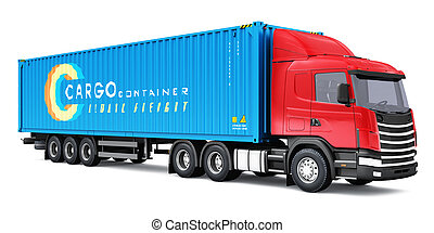Semi-truck with 40 ft heavy cargo container