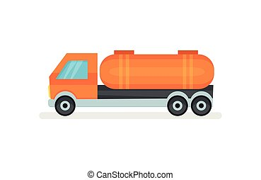 Semi truck with large orange reservoir. Heavy vehicle. Industrial automobile with tank. Flat vector icon