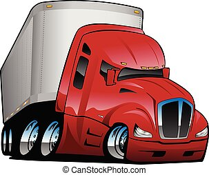 Big rig semi-truck tractor trailer cartoon vector illustration, red, chrome wheels, big tires, aggressive stance