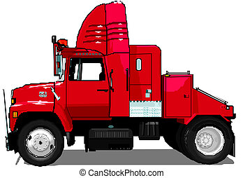 semi, vecteur, camion