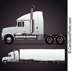 semi, vecteur, camion, long, caravane, nez, illustration