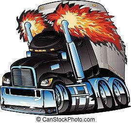 semi, vecteur, tracteur, échappement, derrick, noir, ...