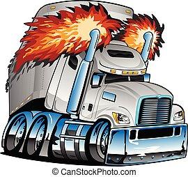 semi, vetorial, trator, escapamento, branca, guarneça, lotes, caricatura, isolado, grande, flamejante, cromo, reboque, ilustração, caminhão