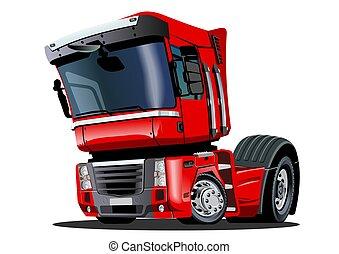 semi, vrijstaand, vrachtwagen, achtergrond, witte , spotprent