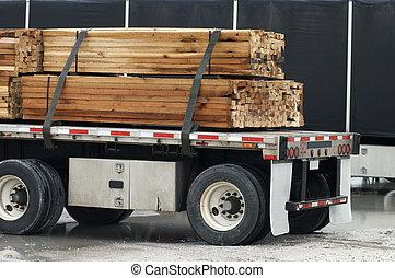 Semi with wood load  - Semi with wood load