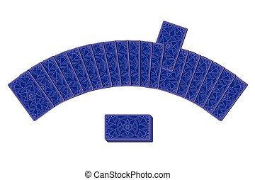 semicírculo, revés, colocar, tarjetas del tarot, lado
