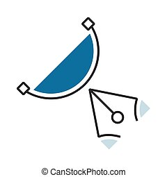 semicircle design Blue pen tool icon