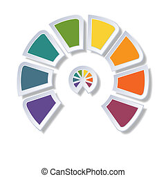 Semicircle diagram with 8 multicolored elements - Template...