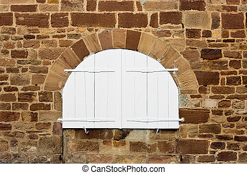 Semicircle - French Window with Closed Wooden Shutter
