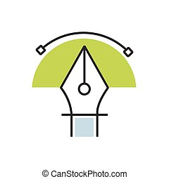semicircle Green pen tool icon