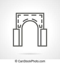 semicircular, arco, simple, línea, vector, icono