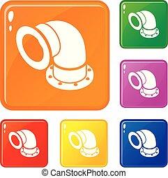 Semicircular pipe icons set vector color - Semicircular pipe...