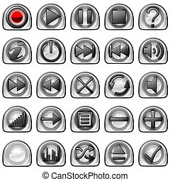 Semicircular pressed Control panel buttons