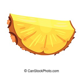 Semicircular slice of pineapple. Vector illustration on a white background.