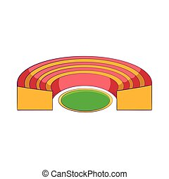 Semicircular stadium icon, cartoon style