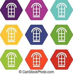 Semicircular window frame icons set 9 vector