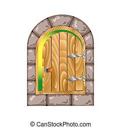 semicircular wooden door in a stone house