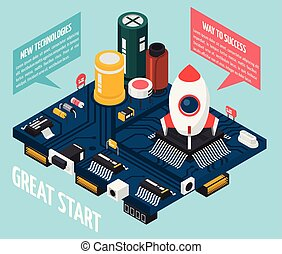Semiconductor Electronic Components Concept - Colored...