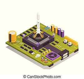 Semiconductor Electronic Components Isometric Composition -...
