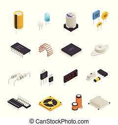Semiconductor Electronic Components Isometric Set -...