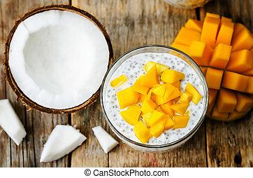 semilla, coco, mango, pudín, chia