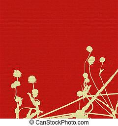 semilla dirige, y, tallos, en, rojo, acanalado, plano de fondo