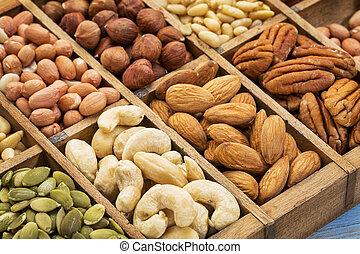 semilla, nueces, colección