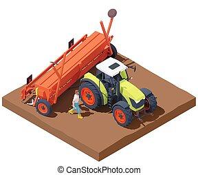 semilla, tractor, vector, isométrico, taladro