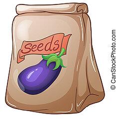 semillas, bolsa, berenjena