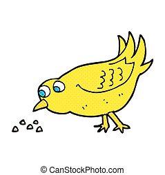 semillas, caricatura, picotear, pájaro