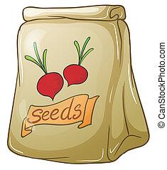 semillas, cebolla, paquete