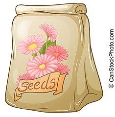 semillas, flor, paquete
