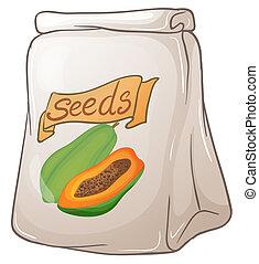semillas, papaya, paquete